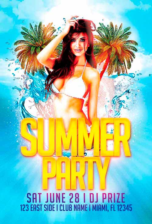 Free Summer Party Flyer Template Vol.2