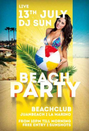 Free Beach Party Summer Flyer Template
