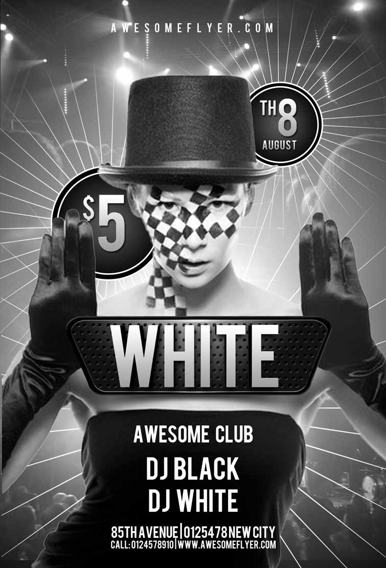 free black and white party flyer template awesomeflyer preview awesomeflyer. Black Bedroom Furniture Sets. Home Design Ideas