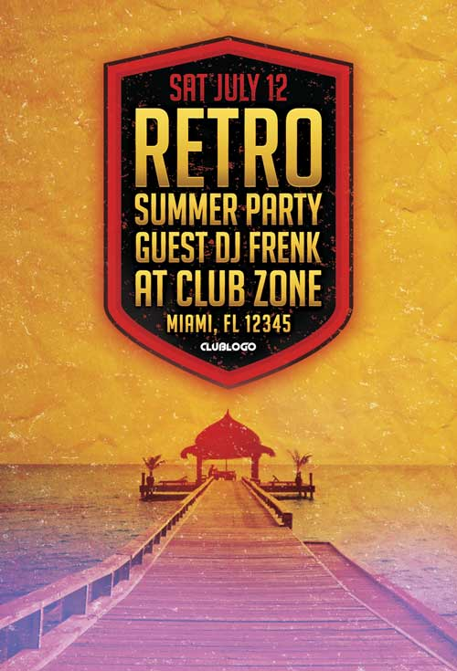 Retro Summer Party Flyer Template
