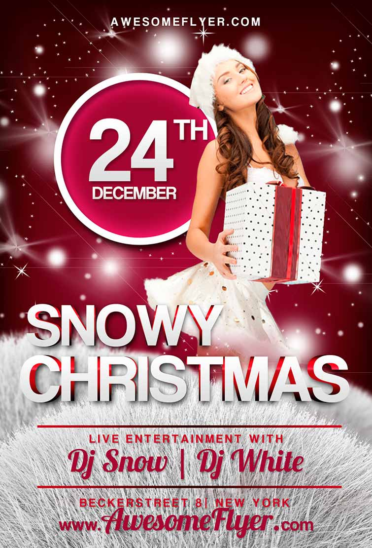 Free Snowy Christmas Flyer Template Awesomeflyer Com