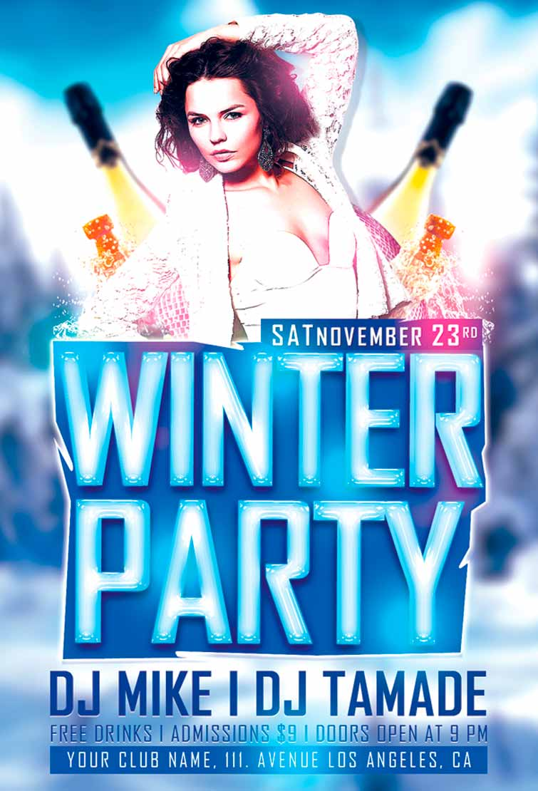 psd winter party flyer template awesomeflyer com winter party flyer template awesomeflyer preview