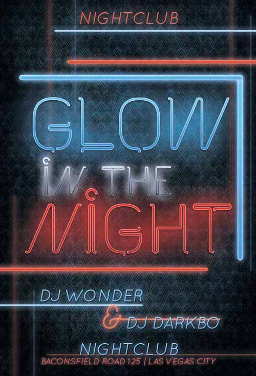 Free Glow Night Free Flyer Template