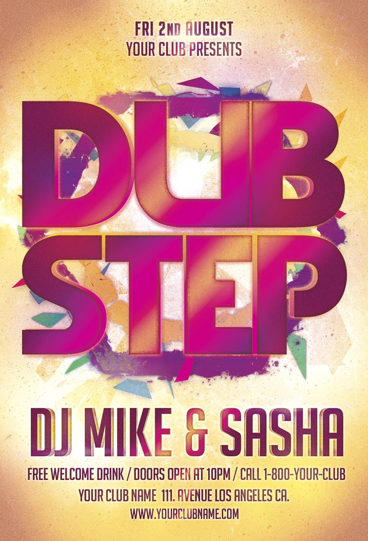 Dub Step Party Free PSD Flyer Template