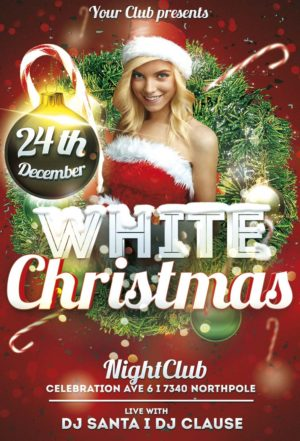 Free White Christmas Flyer Template - Awesomeflyer
