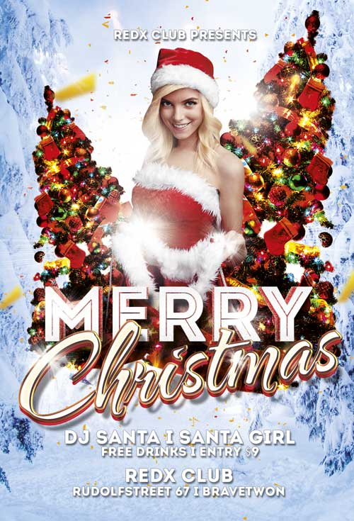 Free Merry Christmas Flyer Template | Awesomeflyer.com