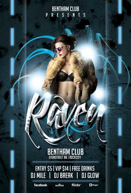 Free Raven Club Flyer Template