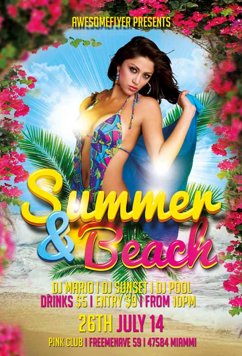 Free Summer And Beach Flyer Template Awesomeflyer