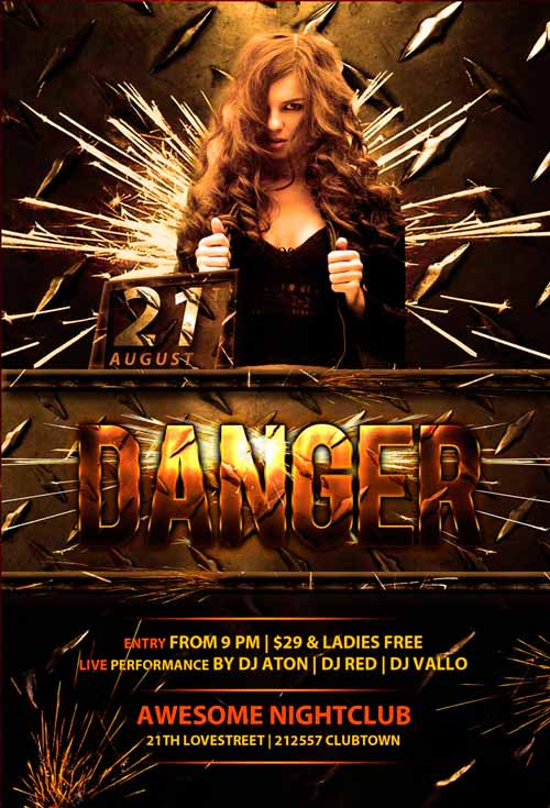 Download the Free Danger Club Flyer Template | Awesomeflyer.com