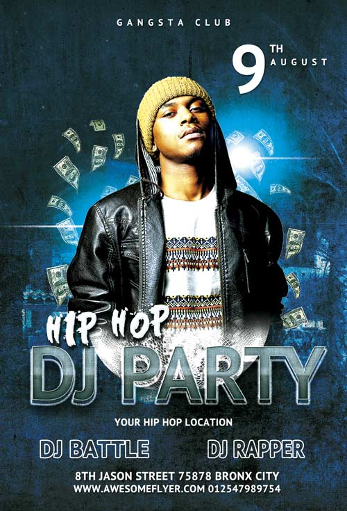 Hip Hop DJ Party Free Flyer Template
