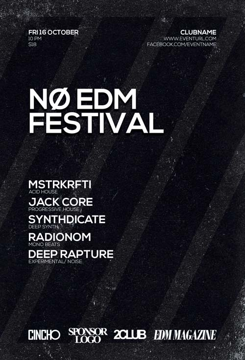 Free No EDM Festival Flyer Template