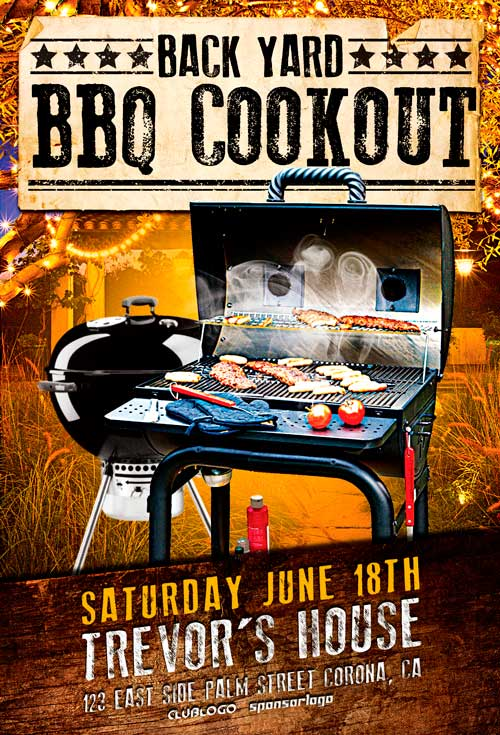 Backyard Bbq Party Flyer Template  AwesomeflyerCom