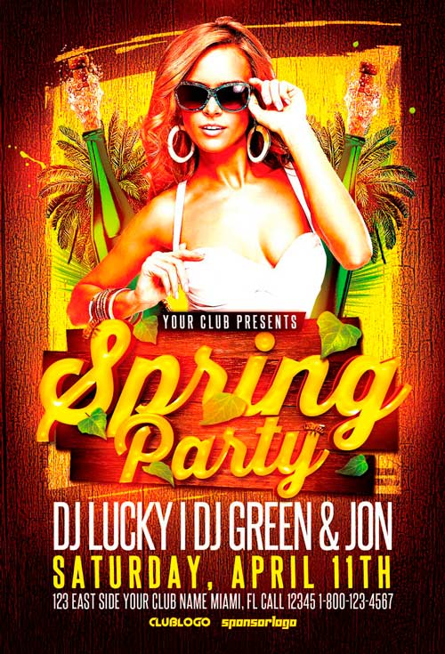 Spring Party Flyer Template For Photoshop  AwesomeflyerCom