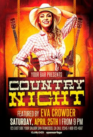 Western Country Night Flyer Template