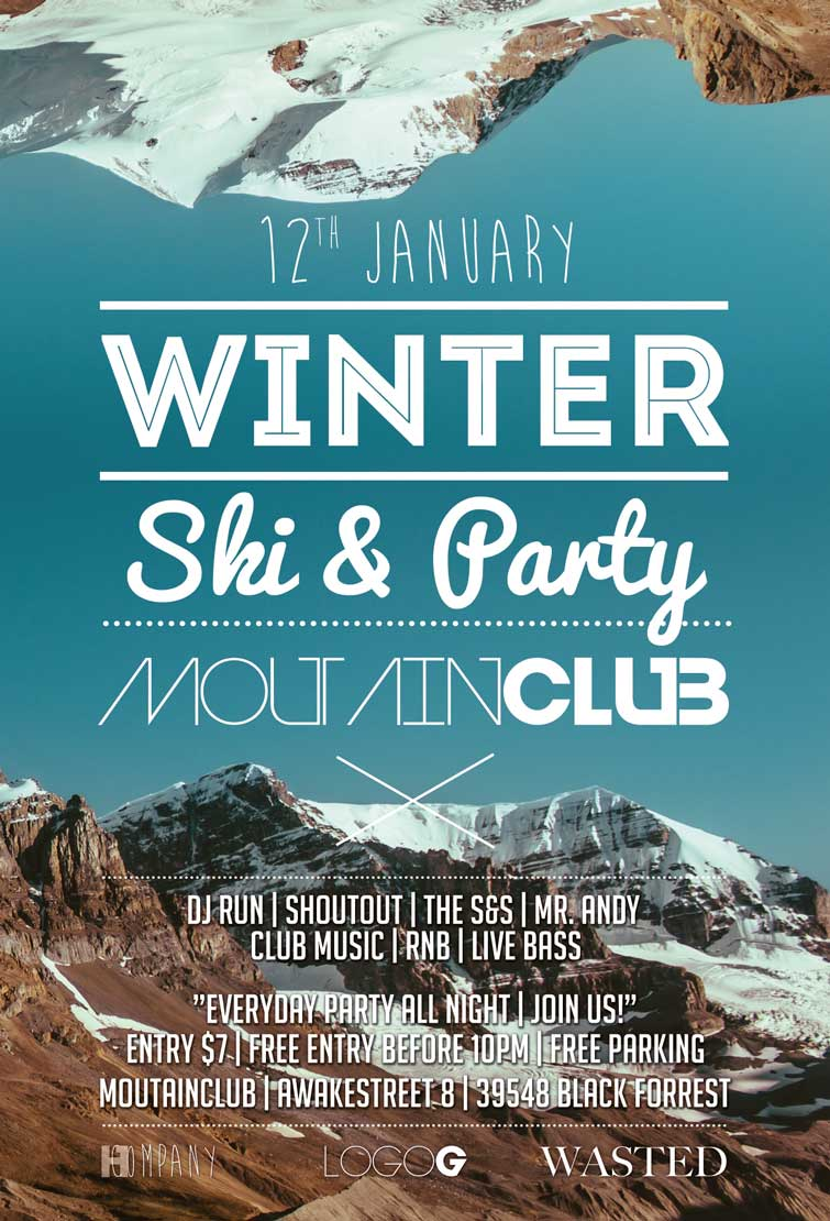 minimal winter party flyer template com winter ski party flyer template