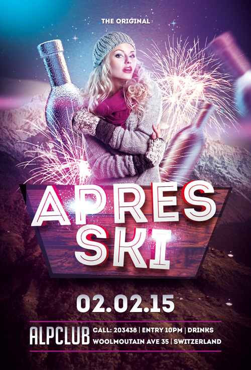 Apres Ski Party Flyer Template  AwesomeflyerCom
