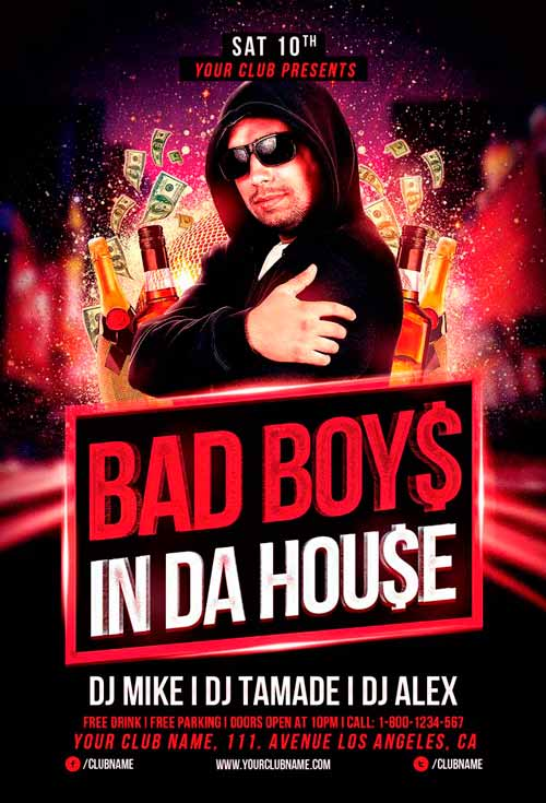 Bad Boys Party Flyer Template For Photoshop | Awesomeflyer.Com