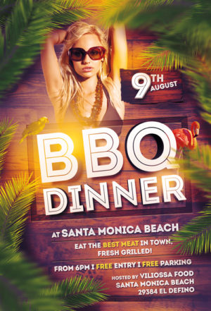 BBQ Dinner Party Flyer Template