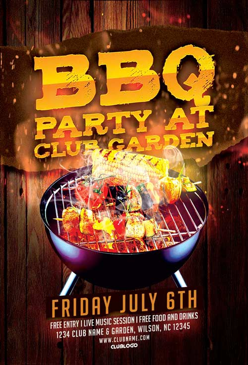 Download Bbq Party Flyer Template For Photoshop  AwesomeflyerCom