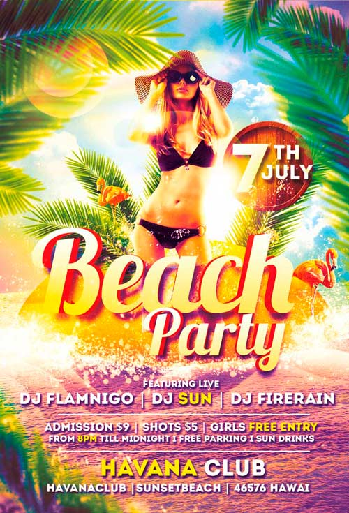 Beach Party Flyer Template Vol  AwesomeflyerCom