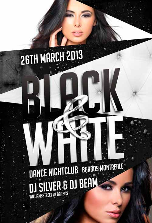 Black And White Party Flyer Template For Photoshop