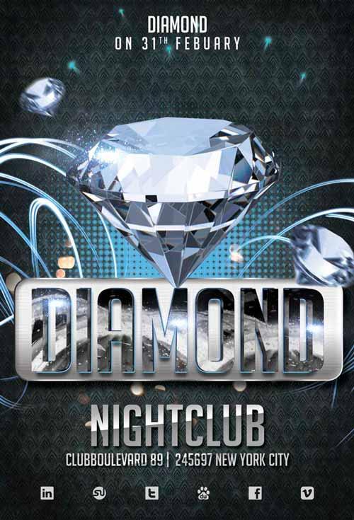 Diamond Club Flyer Template for Photoshop | Awesomeflyer com