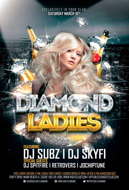 Diamond Ladies Club Flyer Template For Photoshop  AwesomeflyerCom