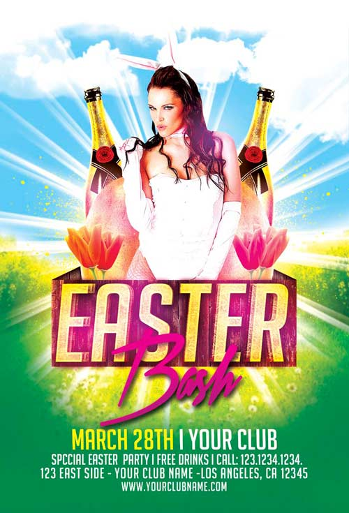 Easter Bash Flyer Template For Photoshop  AwesomeflyerCom