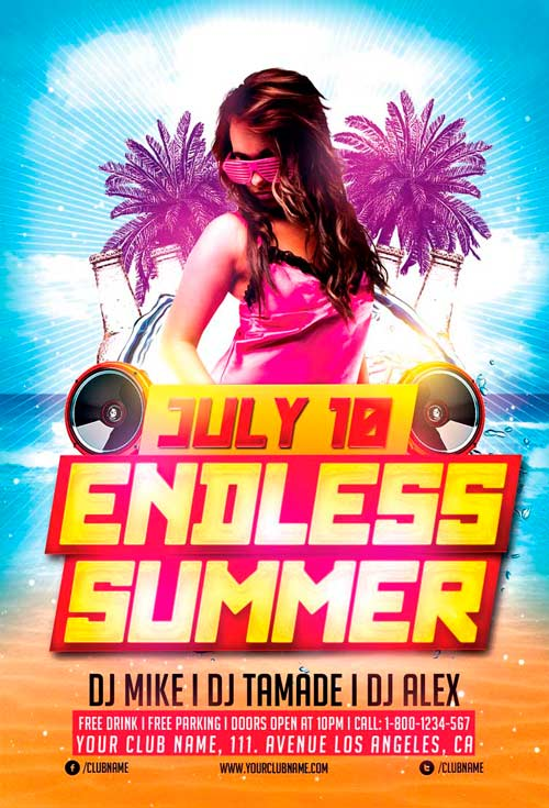 Endless summer party flyer template awesomeflyer saigontimesfo