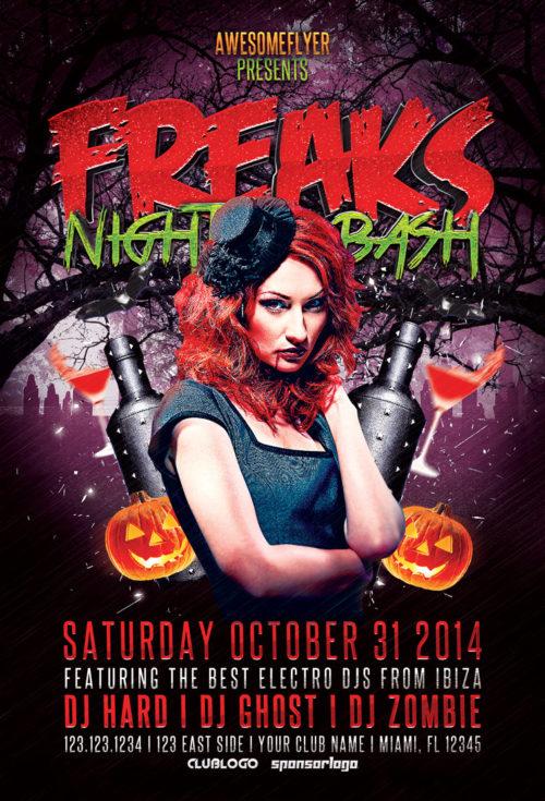 freaks-night-halloween-party-flyer-awesomeflyer-com