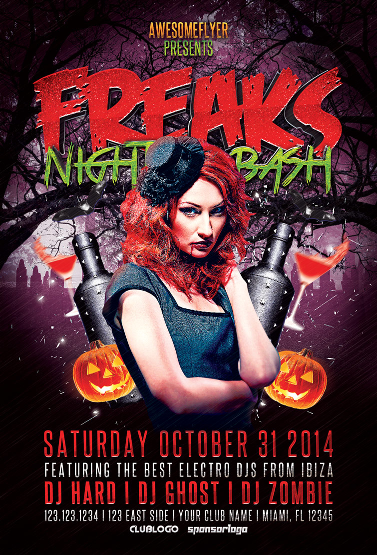 Freaks Night Halloween Party Flyer | Awesomeflyer.com