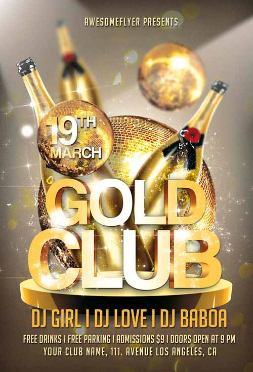 gold club party flyer template for photoshop awesomeflyer com
