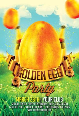 Golden Egg Easter Party Flyer Template