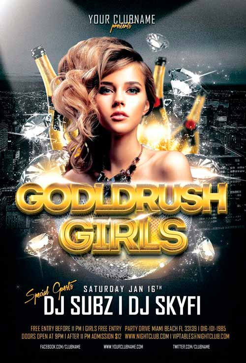 Goldrush Girls Club Flyer Template