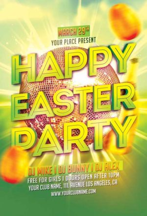 Golden Egg Easter Party Flyer Template Psd  AwesomeflyerCom