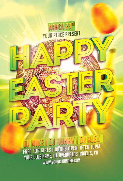 Happy Easter Party Flyer Template For Photoshop  AwesomeflyerCom