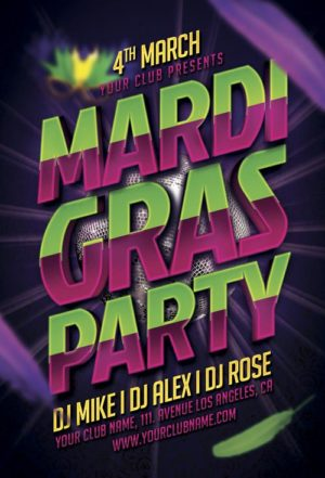 Mardi Gras Party Typo Flyer Template