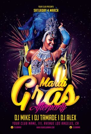 Mardi Gras Afterparty Flyer Template