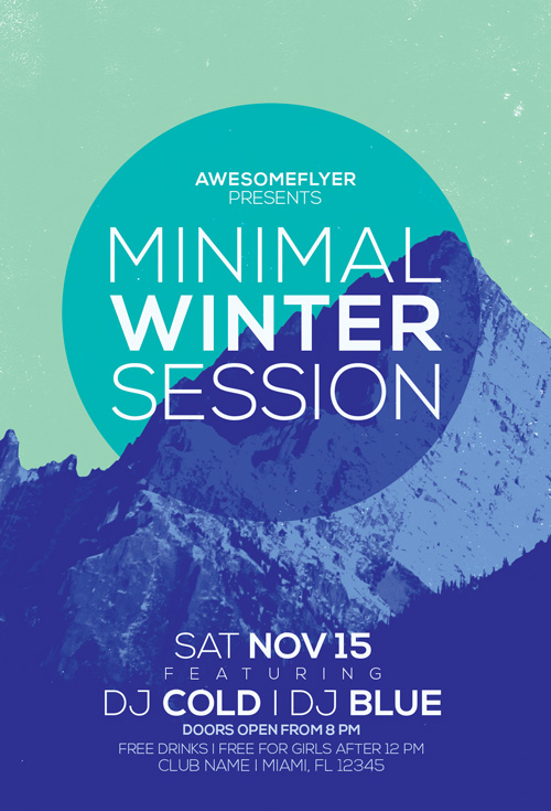 Minimal Winter Party Flyer Template  AwesomeflyerCom
