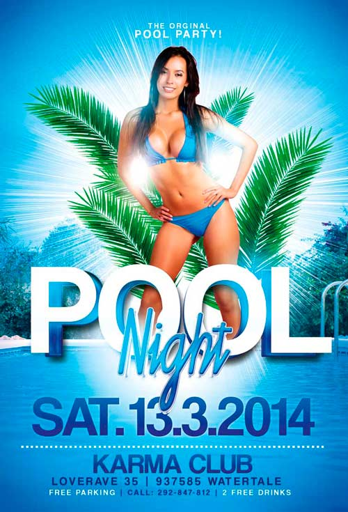 Download Pool Party Flyer Template for Photoshop | Awesomeflyer.com