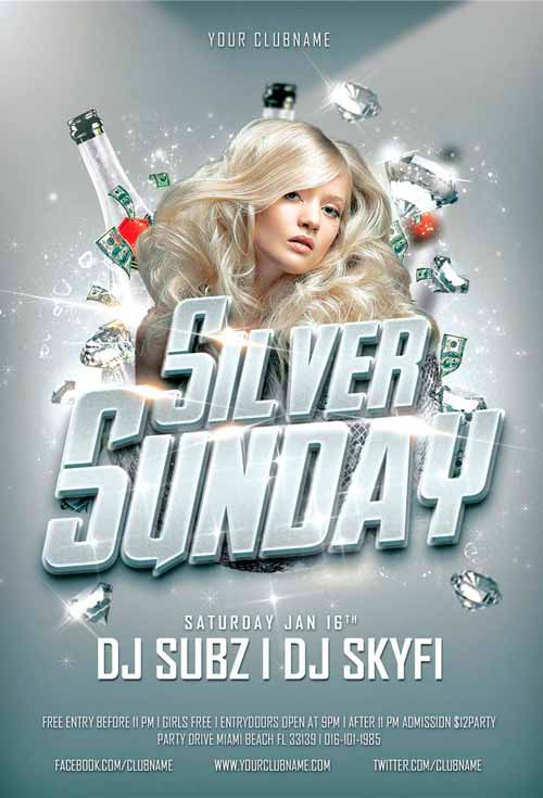 Silver Sunday Club Party Flyer Template Psd Awesomeflyer
