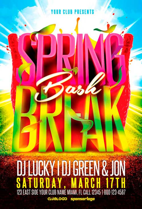Spring Bash Flyer Template Vol For Photoshop  AwesomeflyerCom