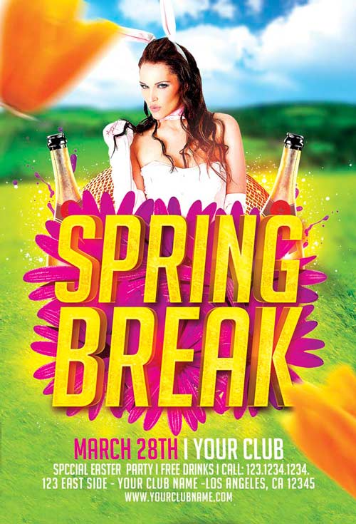 Spring Break Flyer Template For Photoshop  AwesomeflyerCom