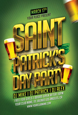 St. Patricks Day Typo Flyer Template