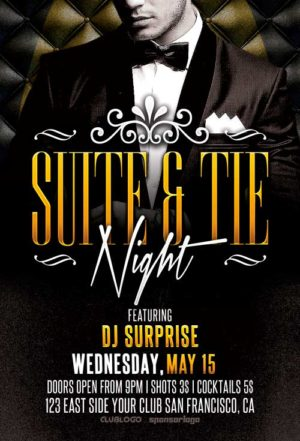 Suite and Tie Party Flyer Template