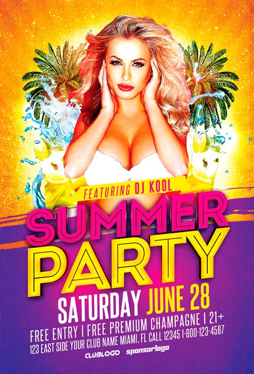 summer party flyer template vol 3 awesomeflyer com