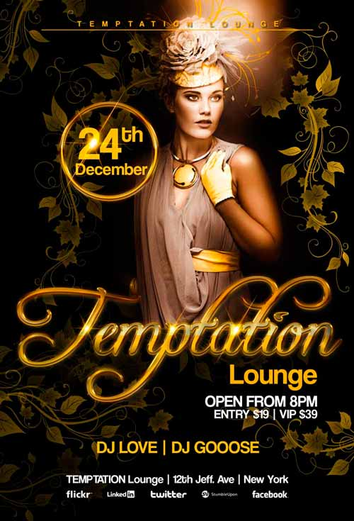 Captivating Temptation Lounge Flyer Template Awesomeflyer 500 Good Looking