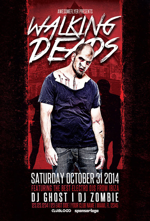Walking Deads Halloween Party Flyer Template