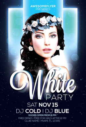 White Night Party Flyer Template