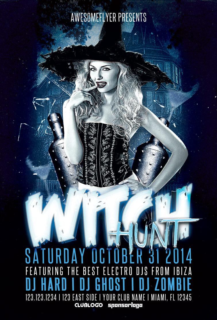 Witch Hunt Halloween Party Flyer Template for Photoshop